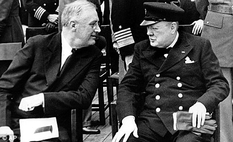 WSC meets FDR aboard HMS Prince of Wales August 14, 1941. Draft the Atlantic Charter
