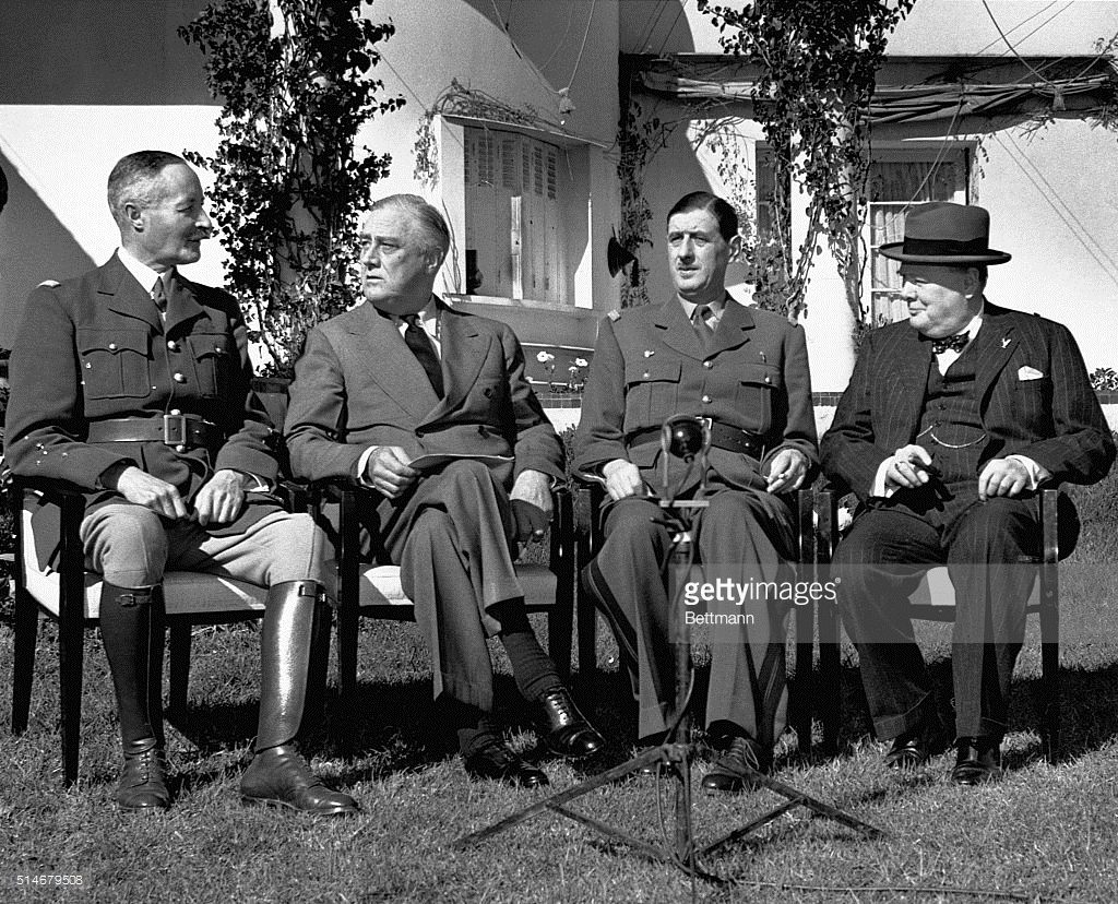 WSC & FDR meet with General De Gaulle at Casablanca – January, 1943