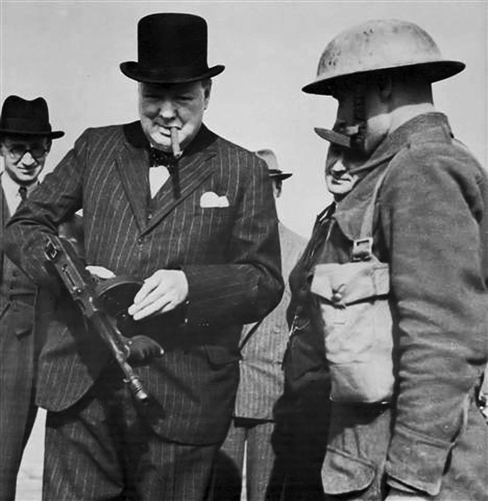 Churchill with a Tommy Gun