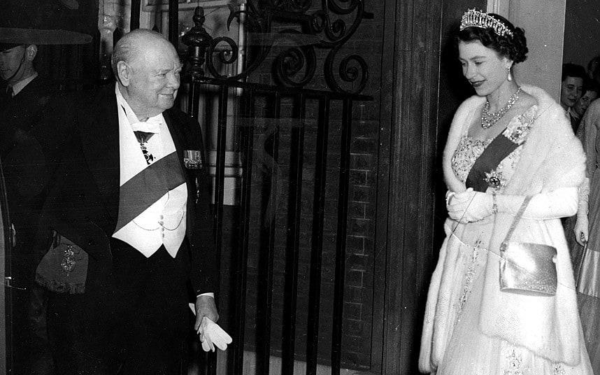 Churchill & Queen Elizabeth II at Final Dinner