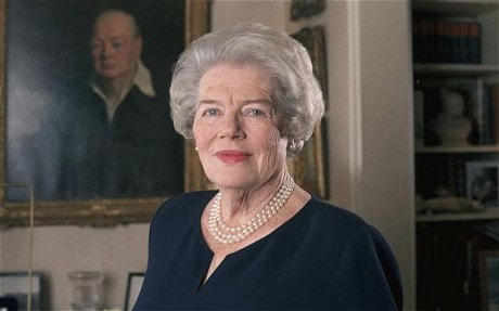 Mary Soames, Baroness Soames, LG, DBE, FRSL – Youngest of WSC & Clementine's children. Patron of The International Churchill Society (1983-2014).